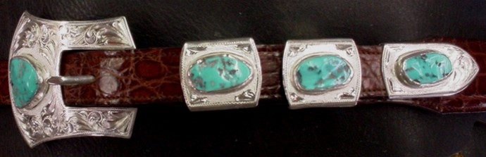 1 inch 4 Piece Turquoise Buckle Set