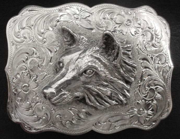 Large Wolf Head Left Buckle